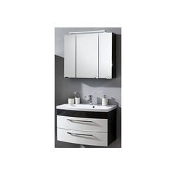 Lomadox Waschtisch-Set RIMAO-02, (Spar-Set, 2-tlg), Waschtisch & Spiegelschrank Hochglanz weiß, anthrazit, 80cm Waschtisch, LED Spiegelschrank, B x H x T ca.: 82 x 190 x 48,5 cm