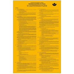 Aushang Berufsgenossenschaft Betriebsvorschriften für Krane Folie selbstklebend (B x H) 310mm x 475