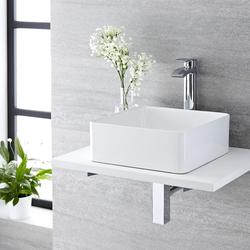 Aufsatzwaschbecken 36cm Gäste-WC Quadratisch ohne Überlauf