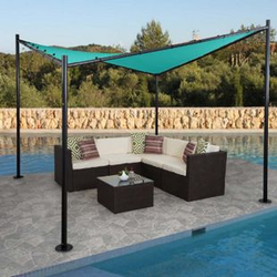 Pergola MCW-A41, Garten Pavillon Sonnensegel, stabiles 6cm Stahl-Gestell 3x3m ~ türkis