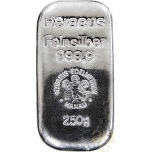 250 Gramm Silberbarren Heraeus gegossen