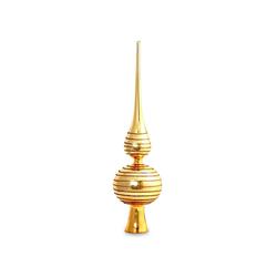 SIKORA Christbaumspitze SP2G Klassische Christbaumspitze aus Glas mit Glitterdekor - gold / H:29cm