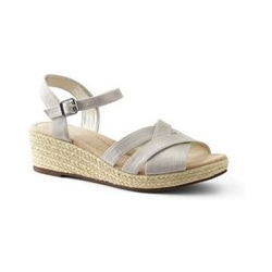 Canvas-Keilsandalen, Damen, Größe: 38.5 Weit, Beige, Leinen, by Lands' End, Travertin - 38.5 - Travertin