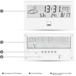 CLATRONIC Clatronic WSU 7022 Wetterstation mit Uhr weiß Funkwetterstation