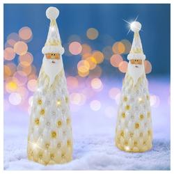 etc-shop LED Dekolicht, 2er Set Steh Weihnachts Mann Fensterbank X-MAS Figur Glitzer Keramik Nikolaus