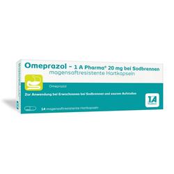 OMEPRAZOL-1A Pharma 20 mg bei Sodbrennen HKM 14 St