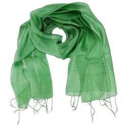 Guru-Shop Modetuch Seidentuch,Thai Schal aus Seide - grün 160 cm