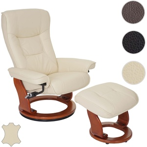 MCA Relaxsessel Hamilton, Fernsehsessel Hocker, Echtleder 130kg belastbar ~ creme, honigfarben