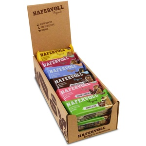 HAFERVOLL Flapjack Mixbox Classic - 18 x 65g Müsliriegel, gebacken, handmade, Hafer, Früchte, Nüsse uvm., Honig statt Zucker, ohne Aromen