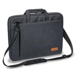 PEDEA Laptoptasche 15,6 Zoll (39,6 cm) ELEGANCE Notebook Umhängetasche mit Tablet Fach, grau