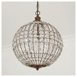 Grafelstein Kronleuchter Kugellampe CRISTAL mit Kristallen D34cm antik braun Deckenleuchte Kugel