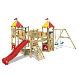 Wickey Spielturm Ritterburg Smart Queen mit Schaukel & Rutsche, Spielhaus mit Sandkasten, Kletterleiter & Spiel-Zubehör rot