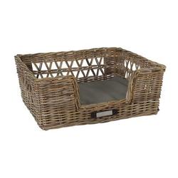Klassischer Luxury Rattankorb für Hunde, L: 74x65x29 / 69x59 cm