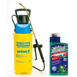Drucksprühgerät prima 5 und Akku-Kompressor AutoPump + Roundup Easy 500 ml