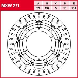 TRW Lucas Bremsscheibe Street schwimmend MSW271 320/132/150/