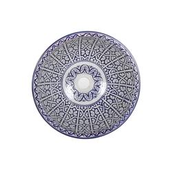 Casa Moro Waschbecken Mediterrane Keramik-Waschbecken Fes96 rund Ø 40 cm bunt Höhe 18 cm, Marokkanische Handwaschbecken für Bad Waschtisch Gäste-WC, Kunsthandwerk aus Marokko, WB40306, Handmade