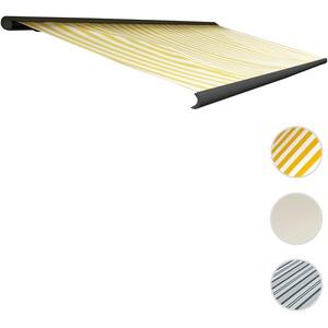 Elektrische Kassettenmarkise T122, Markise Vollkassette 4x3m ~ Polyester Gelb/Weiß, Rahmen anthrazit