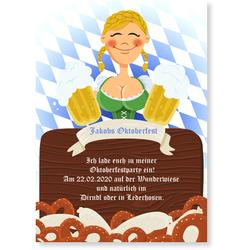 Einladungskarten Oktoberfest (10 Karten) selbst gestalten, Oktoberfest - Dirndl - Maid - Blau