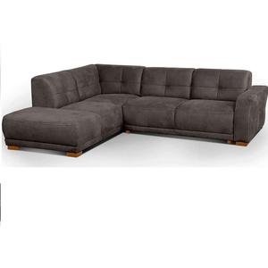 Cavadore Ecksofa Modeo, mit Federkern, Sofa in L-Form im modernen Landhausstil, Holzfüße, 261 x 77 x 214, Lederoptik, grau