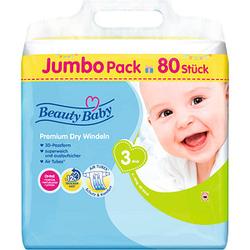 Beauty Baby Windeln Premium Dry Größe Gr.3 (6-10 kg) für Babys und Kleinkinder