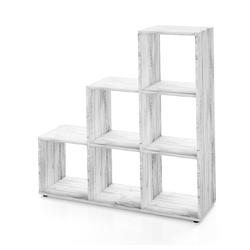 Vicco Stufenregal Treppenregal 6 Fächer Grau Beton - Raumteiler Stufe Bücherregal Aktenregal