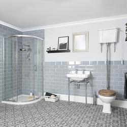 Traditionelle Duschgarnitur mit Viertelkreisduschkabine, hohem WC und Waschbecken mit Gestell - Richmond