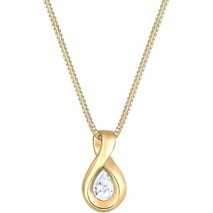 Elli PREMIUM Halskette Damen Infinity mit Zirkonia Steinen Unendlichkeit in 585 Gelbgold