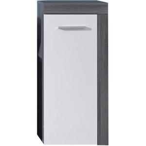 trendteam smart living Badezimmer Kommode Schrank Miami, 36 x 81 x 31 cm in Korpus Rauchsilber Dekor, Front Weiß mit viel Stauraum
