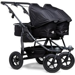 tfk Zwillings-Kombikinderwagen duo, Zwillingskinderwagen; Kinderwagen für Zwillinge; Zwillingswagen schwarz
