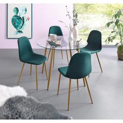 my home Essgruppe Miller, (Set, 5-tlg), Glastisch mit 4 Stühlen (Webstoff) grün