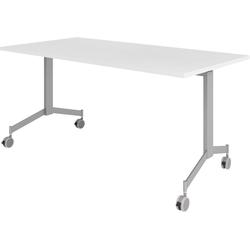 bümö Klapptisch OM-KF16, Konferenztisch fahrbar & klappbar Staffeltisch - Dekor: Weiß weiß
