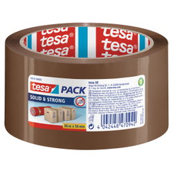 tesapack® Solid & Strong Paketband , Packband in Premium-Qualität, 1 Rolle = 66 m x 50 mm, braun