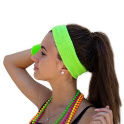 Stirnband + Schweißband Set Neongrün 3-teilig 80er Jahre 80s Karneval Fasching Motto Party grün