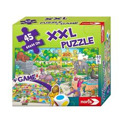 Noris Puzzle XXL Puzzle Zoo 2 in 1 mit Spiel, Puzzleteile