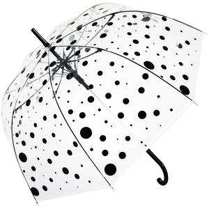 Bloom of London Parapluie Long - Design Anglais Ouverture automatique Pois Regenschirm, 75 cm, 100 liters, Transparent