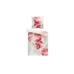 Satin Bettwäsche  Orchideen ¦ weiß ¦ 100% Baumwolle     ¦ Maße (cm): B: 135