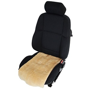 Autositzauflage/Sitzbezug für Sitzfläche aus echtem Lammfell (Patchwork) Breite 36 cm (sekt)