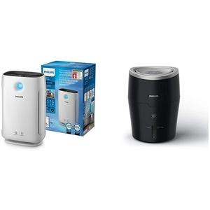 Philips AC2889/10 Luftreiniger Connected entfernt bis zu 99,9% der Viren und Aerosole* aus der Luft weiß & Luftbefeuchter HU4814/10 (bis zu 40 m2, 2 Liter Wasserbehälter) schwarz