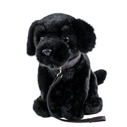Teddys Rothenburg Kuscheltier Labrador schwarz mit Leine 35 cm (Kuschelhund, Plüschhund)