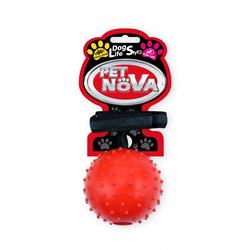Hundespielzeug Kauspielzeug ROPEBALL-L-RE AportBall + Gurt Vanille Aroma 7cm rot