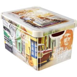 CURVER DECO´s Stockholm Aufbewahrungsbox, 20 Liter, Aufbewahrungskisten im Trend-Design bringen Farbe in Ihr Zuhause, Design: Cuba