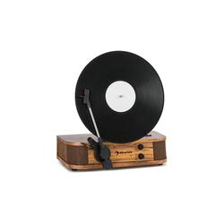 Auna Verticalo SE Retro-Plattenspieler USB BT Line-Out holz Plattenspieler (Riemenantrieb, Bluetooth, nostalgischer Plattenspieler mit vertikalem Plattenteller und Riemenantrieb)