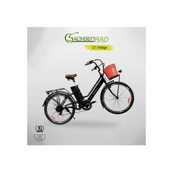 SachsenRAD E-Bike Vintage E-Citybike C1 inkl. Bastkorb, Kettenschaltung, Heckmotor 250,00 W, Bast Fahrradkorb
