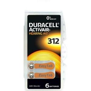 6 Duracell Activair Typ 312 / DA 312 Zink-Luft Hörgerätebatterien im 6er Blister