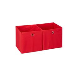 relaxdays Aufbewahrungsbox Aufbewahrungsbox Stoff im 2er Set rot