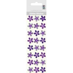 Glitter Sticker Blüten VE=24 Stück violett