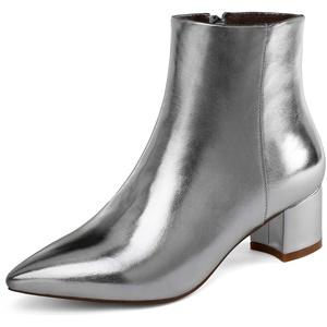 Damen Winter Kurz Stiefeletten Spitze Zehen Reissverschluss High Heels Knöchelstiefel mit Blockabsatz Silber EU38