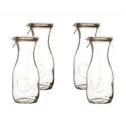 Weck Einmachglas Saftflaschen 500 ml mit Deckel RR 60, Einkochringen & Einweck−Klammern − Weckflaschen aus Glas, (4-tlg)