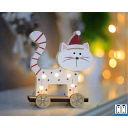 Hellum 524192 Holz-Figur Katze (stehend) LED Bunt