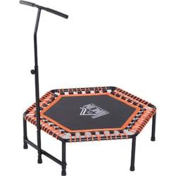 HOMCOM Fitness-Trampolin mit Haltegriff schwarz, orange 121,9 x 122-138 cm (ØxH)   Gartentrampolin Minitrampolin Trainingstrampolin